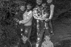 Heather, Nate and Kids in black and white II