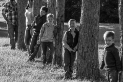 Heather, Nate and Kids in black and white