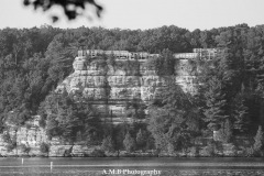 While deciding which trail we were going to hike, my husband and I drove by the lock and damn near Starved Rock State Park in Illinois. Across the Illinois River I captured Lover's Leap, one of their trail's destinations. Captured in the on the first full day of Fall in 2017.